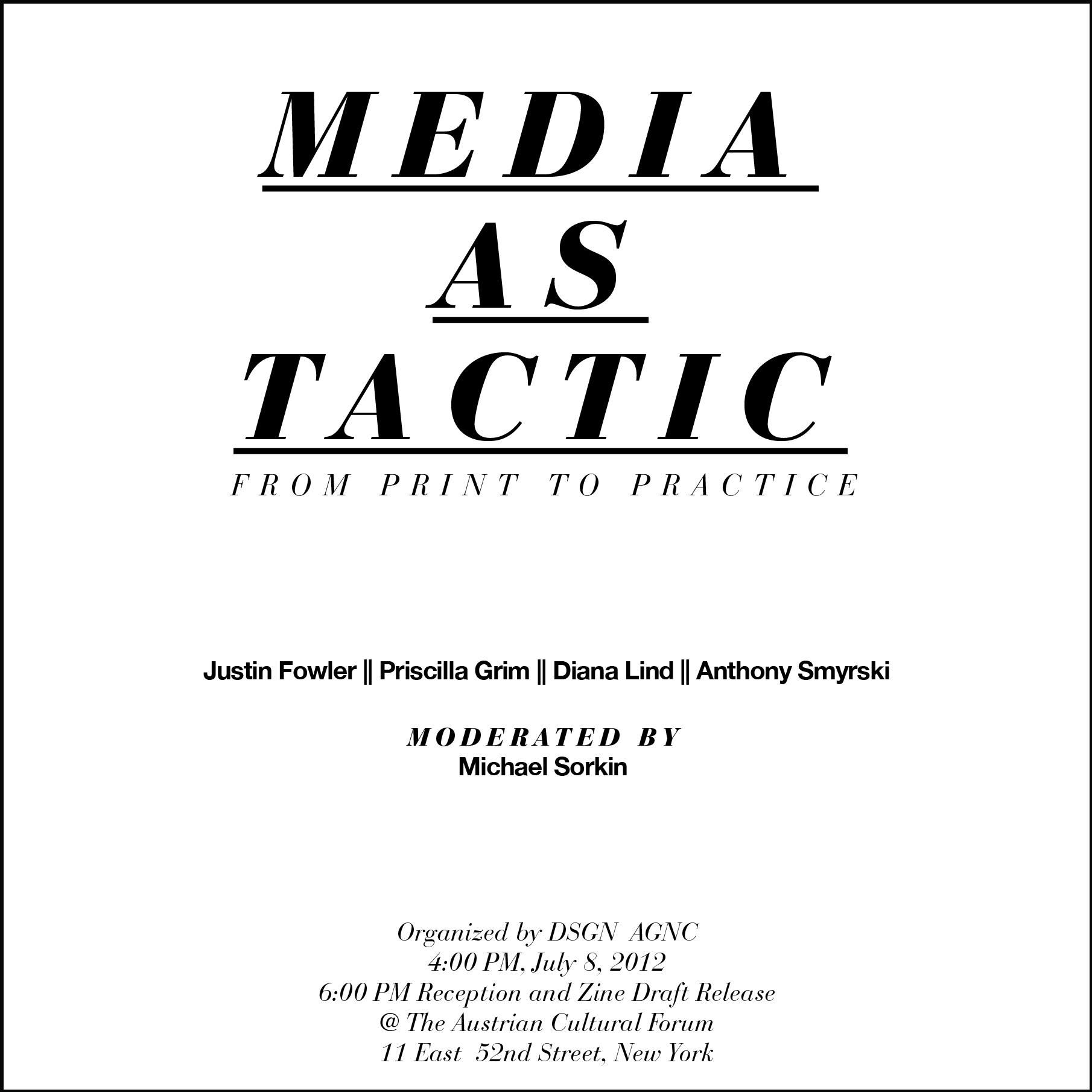 MEDIA AS TACTIC: from print to practice + Critical Activism Zine ...
